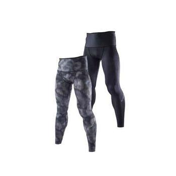 【MIZUNO】BG9000 男緊身長褲-可雙面穿- 慢跑 路跑 抗UV 黑灰