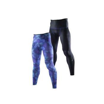 【MIZUNO】BG9000 男緊身長褲-可雙面穿- 慢跑 路跑 抗UV 藍紫