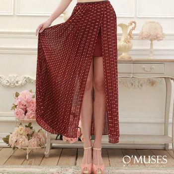 【OMUSES】雪紡開叉內短外長裙13-7102(黑 . 紅S-M)