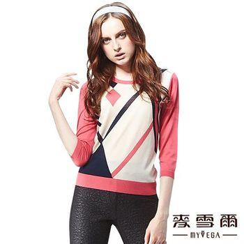 麥雪爾 幾何圖樣七分袖針織上衣