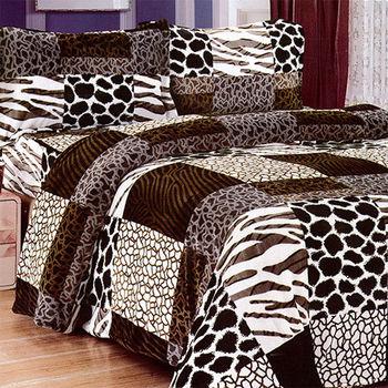 【Victoria】爵士 法蘭絨雙人四件式鋪棉床包組