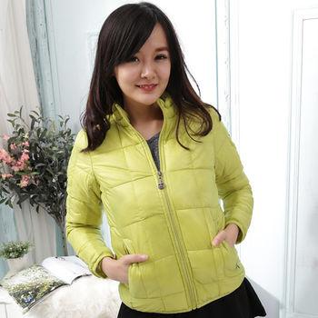 【Stoney.ax】韓版修身立領方格款羽絨棉外套-綠色