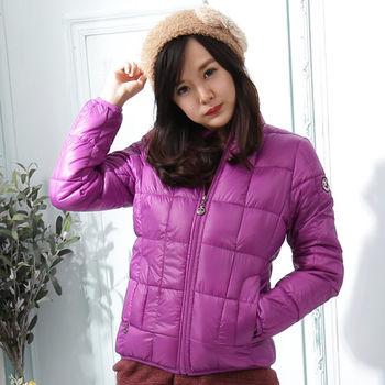 【Stoney.ax】韓版修身立領方格款羽絨棉外套-紫色