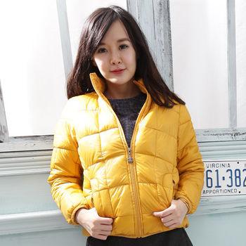 【Stoney.ax】韓版修身立領方格款羽絨棉外套-黃色