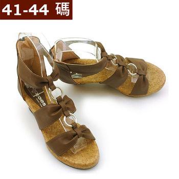 【 101大尺碼女鞋】 復古皮革後拉鍊楔型羅馬涼鞋   (咖啡色)  613-01