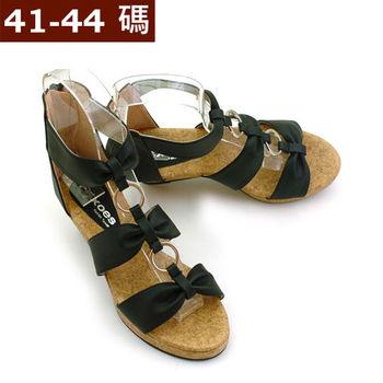 【 101大尺碼女鞋】 復古皮革後拉鍊楔型羅馬涼鞋   (黑3色)  613-01