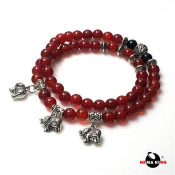 【HEMAKING】財神象寶寶 6mm 紅瑪瑙串珠手鍊 / 項鍊