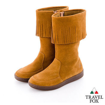 Travel Fox(女)搖擺的那個誰 牛皮流蘇半高筒靴 - 荒野棕