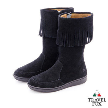 Travel Fox(女)搖擺的那個誰 牛皮流蘇半高筒靴 - 跳跳黑