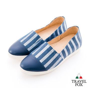 Travel Fox(女)讓腳Y穿衣服的概念 直線尖頭休閒鞋 - 直藍