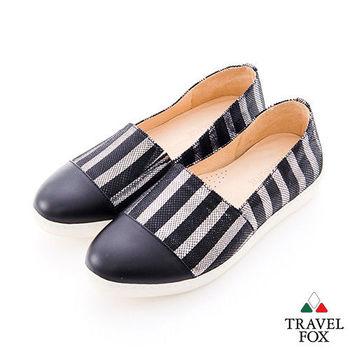 Travel Fox(女)讓腳Y穿衣服的概念 直線尖頭休閒鞋 - 直黑