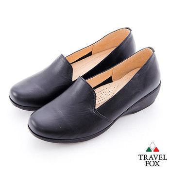 Travel Fox(女) 一千九百英呎的舒適 微跟直套牛皮淑女鞋 - 黑