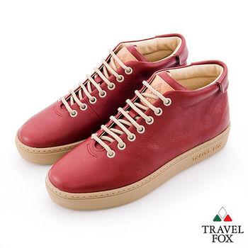 Travel Fox(女)世界不用太複雜 牛皮半高筒休閒鞋 - 簡紅