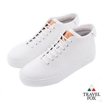 Travel Fox(女) 世界不用太複雜 牛皮半高筒休閒鞋 - 簡白
