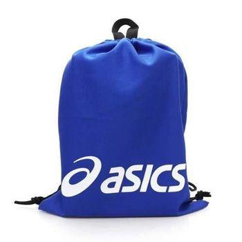 【ASICS】束口後背包 台灣製 -鞋袋 雙肩包 亞瑟士 寶藍白