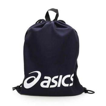 【ASICS】束口後背包 台灣製 -鞋袋 雙肩包 亞瑟士 丈青白