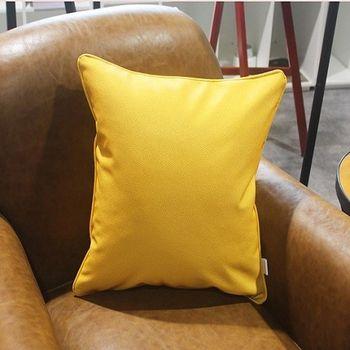 皮革純色沙發抱枕床頭靠背