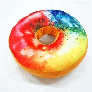 3D創意立體坐墊-彩虹糖霜甜甜圈