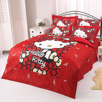 【享夢城堡】HELLO KITTY 我的Ribbon時尚系列-雙人床包涼被組