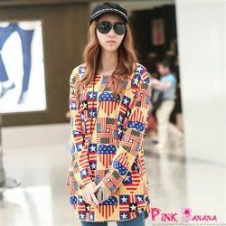 Pink Banana東森線上購物-美式國旗圖案圓領上衣