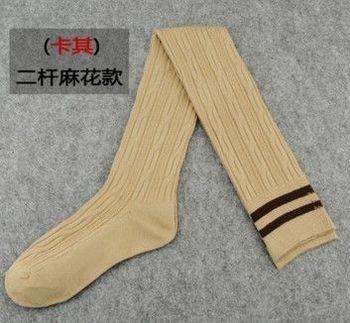 (協貿)加長二槓長筒襪子女過膝襪11