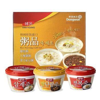 【一等鮮】韓國東遠粥品禮盒1盒6杯(鮑魚粥*3+蔘雞粥*3)