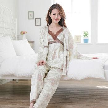 【MFN蜜芬儂】峇里島風情絲質罩衫衣褲三件組
