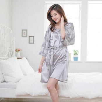 【MFN蜜芬儂】巴黎風情絲質綁帶七分袖洋裝睡衣