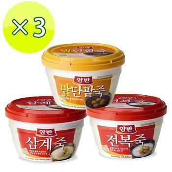 【一等鮮】韓國東遠粥品3杯(鮑魚粥*2+紅豆栗子粥*1)