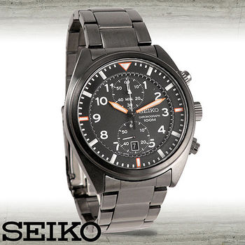 【SEIKO 精工】全黑鋼魅力雙眼計時石英男錶(SNN237P1)