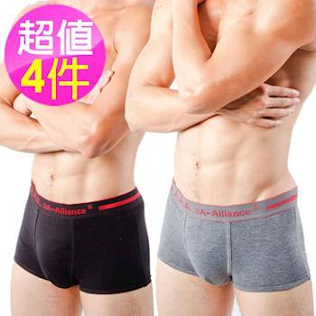 【3A-Alliance 】4入組 男性運動四角內褲 M4002