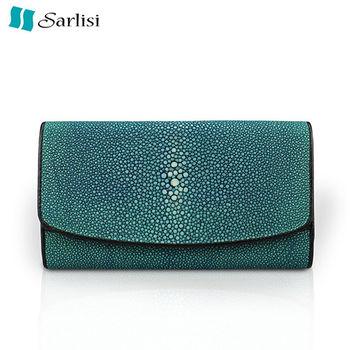 Sarlisi 低調素雅珍珠魚真皮三折長夾(綠色、黑色、紅色)