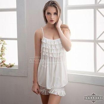 i-Style 加大尺碼Annabery荷葉層疊可愛上衣短褲組(白)【AB27062】