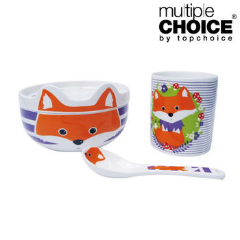 【Multiple Choice】好好收安心餐具組(杯/碗(含蓋)/湯匙)-小狐狸