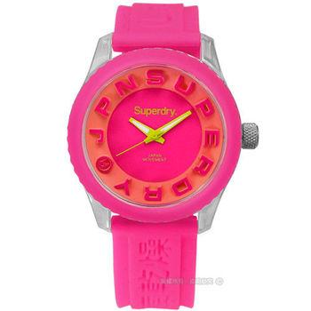Superdry 極度乾燥 / SYL148P / Tokyo 東京炫彩立體矽膠腕錶 橘x粉紅 38mm