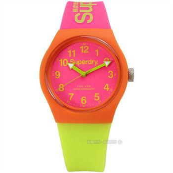 Superdry / SYG164MP / Urban 極度乾燥都市滑板少年矽膠腕錶 螢光粉紅x螢光綠 38mm