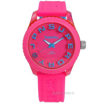 Superdry 極度乾燥 / SYL146PAU / Tokyo 東京炫彩立體矽膠腕錶 藍x粉紅 38mm