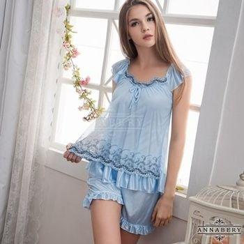 i-Style 加大尺碼Annabery粉藍刺繡小蓋袖上衣短褲組(粉藍)【AB27006】