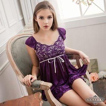 i-Style 加大尺碼Annabery深紫緹花小蓋袖上衣短褲組(紫)【AB27005】