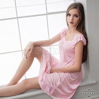 i-Style 加大尺碼Annabery粉嫩清甜微露香肩柔緞睡衣(粉)【AB27003】