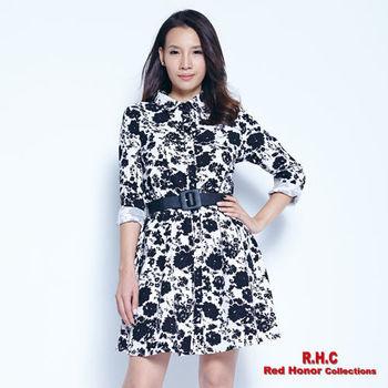 【R.H.C】復古花版襯衫式洋裝
