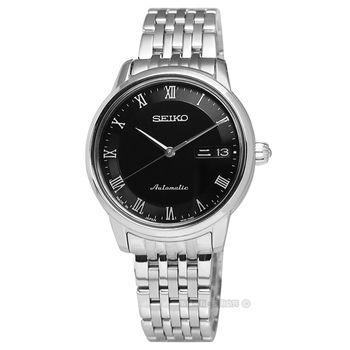 SEIKO 精工★贈皮錶帶4R36-04F0D.SRP885J1 / 鑄就永恆藍寶石水晶玻璃機械腕錶 黑 34mm