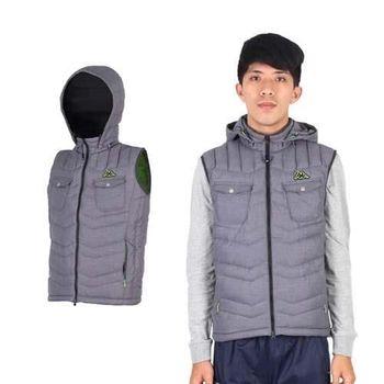 【KAPPA】男拉鍊口袋羽絨保暖連帽背心-芥末綠灰