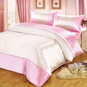 【FOCA】華麗粉銀-經典仿真絲四件式薄被套床包組(雙人)