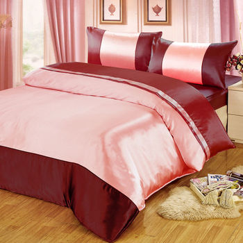 【FOCA】華麗紅銀-經典仿真絲四件式薄被套床包組(雙人)