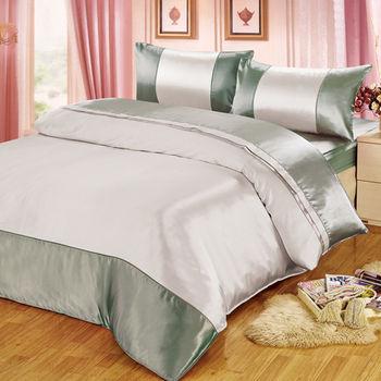 【FOCA】華麗綠銀-經典仿真絲四件式薄被套床包組(雙人)