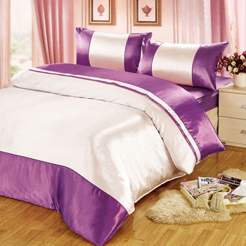 【FOCA】華麗紫銀-經典仿真絲四件式薄被套床包組(雙人)