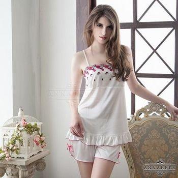 i-Style 加大尺碼Annabery甜美刺繡奶白上衣短褲組(白)【AB27111】