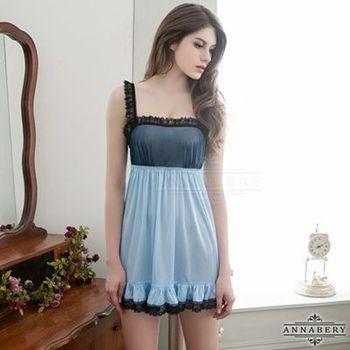 i-Style 加大尺碼Annabery天空藍綴黑蕾絲魅惑柔緞睡衣(藍黑)【AB27090】