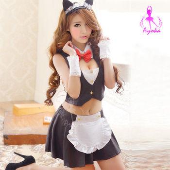 i-Style 性感小喵!五件式貓女角色服(黑白)【AB01559】